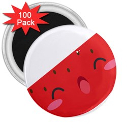 Watermelon Red Network Fruit Juicy 3  Magnets (100 Pack)