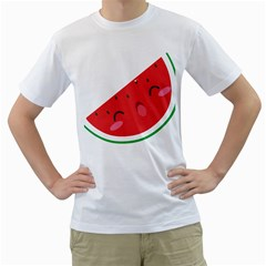 Watermelon Red Network Fruit Juicy Men s T Shirt (white) (two Sided)