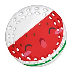 Watermelon Red Network Fruit Juicy Round Filigree Ornament (two Sides)