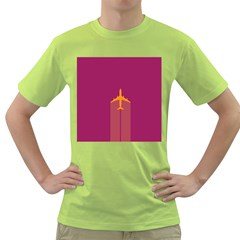 Airplane Jet Yellow Flying Wings Green T Shirt