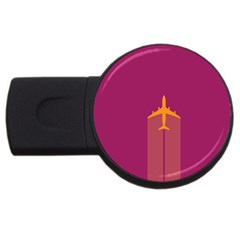 Airplane Jet Yellow Flying Wings Usb Flash Drive Round (2 Gb)
