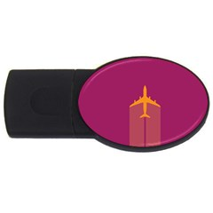 Airplane Jet Yellow Flying Wings Usb Flash Drive Oval (2 Gb)