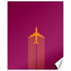 Airplane Jet Yellow Flying Wings Canvas 16  X 20
