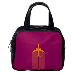 Airplane Jet Yellow Flying Wings Classic Handbags (one Side)