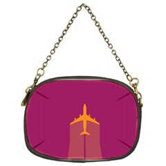 Airplane Jet Yellow Flying Wings Chain Purses (two Sides)