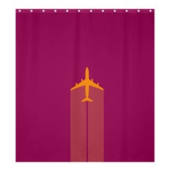 Airplane Jet Yellow Flying Wings Shower Curtain 66  X 72  (large)