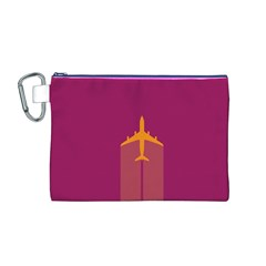 Airplane Jet Yellow Flying Wings Canvas Cosmetic Bag (m)