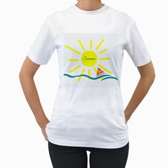 Summer Beach Holiday Holidays Sun Women s T Shirt (white) (two Sided)