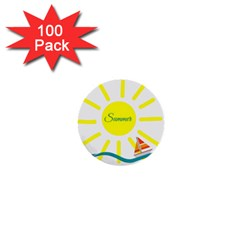 Summer Beach Holiday Holidays Sun 1  Mini Buttons (100 Pack)