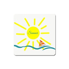 Summer Beach Holiday Holidays Sun Square Magnet