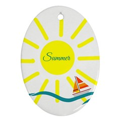 Summer Beach Holiday Holidays Sun Oval Ornament (two Sides)