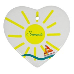 Summer Beach Holiday Holidays Sun Heart Ornament (two Sides)