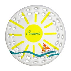 Summer Beach Holiday Holidays Sun Round Filigree Ornament (two Sides)