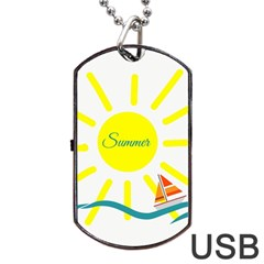 Summer Beach Holiday Holidays Sun Dog Tag Usb Flash (one Side)