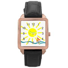 Summer Beach Holiday Holidays Sun Rose Gold Leather Watch