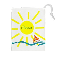 Summer Beach Holiday Holidays Sun Drawstring Pouches (extra Large)