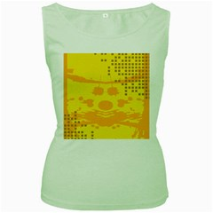 Texture Yellow Abstract Background Women s Green Tank Top