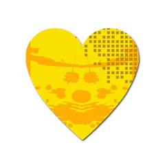 Texture Yellow Abstract Background Heart Magnet