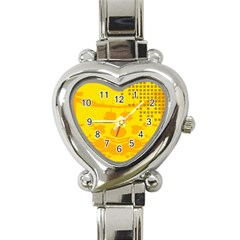 Texture Yellow Abstract Background Heart Italian Charm Watch
