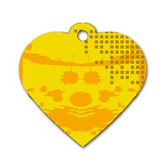 Texture Yellow Abstract Background Dog Tag Heart (one Side)