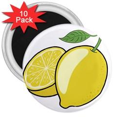 Lemon Fruit Green Yellow Citrus 3  Magnets (10 Pack)