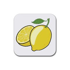 Lemon Fruit Green Yellow Citrus Rubber Coaster (square)