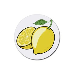 Lemon Fruit Green Yellow Citrus Rubber Round Coaster (4 Pack)