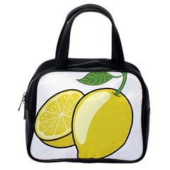 Lemon Fruit Green Yellow Citrus Classic Handbags (one Side)