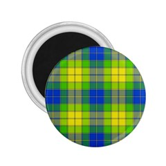 Spring Plaid Yellow Blue And Green 2 25  Magnets