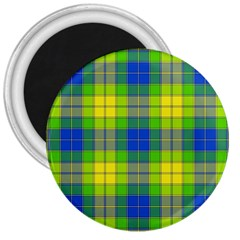 Spring Plaid Yellow Blue And Green 3  Magnets