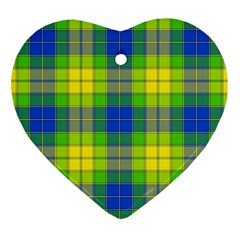 Spring Plaid Yellow Blue And Green Ornament (heart)