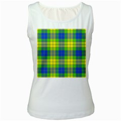 Spring Plaid Yellow Blue And Green Women s White Tank Top