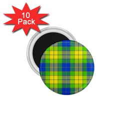 Spring Plaid Yellow Blue And Green 1 75  Magnets (10 Pack)