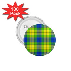 Spring Plaid Yellow Blue And Green 1 75  Buttons (100 Pack)