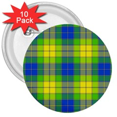 Spring Plaid Yellow Blue And Green 3  Buttons (10 Pack)