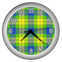 Spring Plaid Yellow Blue And Green Wall Clocks (silver)