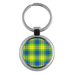 Spring Plaid Yellow Blue And Green Key Chains (round)
