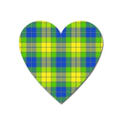 Spring Plaid Yellow Blue And Green Heart Magnet