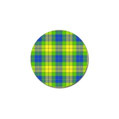 Spring Plaid Yellow Blue And Green Golf Ball Marker (4 Pack)