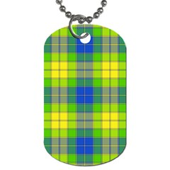 Spring Plaid Yellow Blue And Green Dog Tag (two Sides)