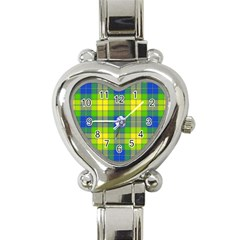 Spring Plaid Yellow Blue And Green Heart Italian Charm Watch