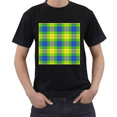 Spring Plaid Yellow Blue And Green Men s T Shirt (black) (two Sided)