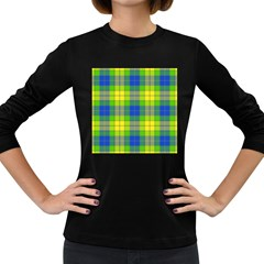 Spring Plaid Yellow Blue And Green Women s Long Sleeve Dark T Shirts
