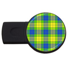 Spring Plaid Yellow Blue And Green Usb Flash Drive Round (4 Gb)