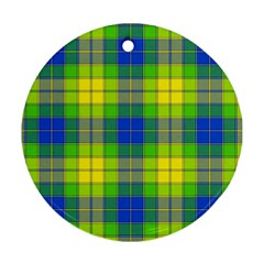 Spring Plaid Yellow Blue And Green Round Ornament (two Sides)