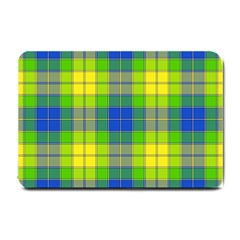 Spring Plaid Yellow Blue And Green Small Doormat