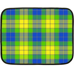 Spring Plaid Yellow Blue And Green Double Sided Fleece Blanket (mini)