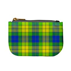 Spring Plaid Yellow Blue And Green Mini Coin Purses