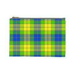 Spring Plaid Yellow Blue And Green Cosmetic Bag (large)