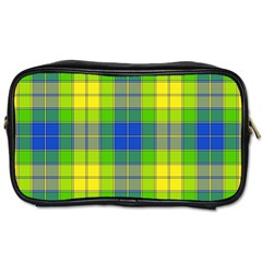 Spring Plaid Yellow Blue And Green Toiletries Bags 2 Side